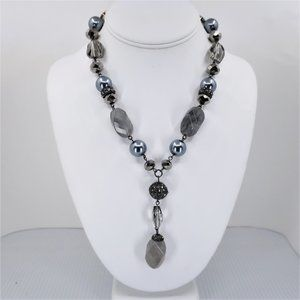 Quartz and Beaded Necklace, Shades of Gray